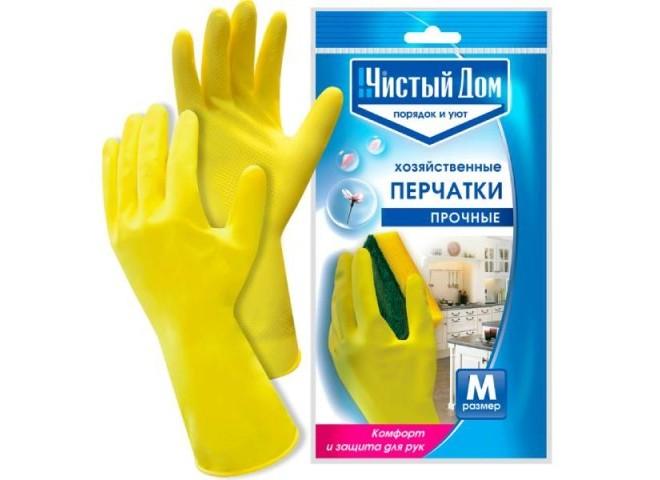 Чистый дом перчатки латексные хозяйственные M  XL  S  L